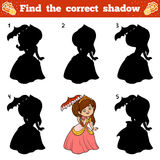 Find the correct shadow. Vector cartoon princess Stock Images