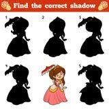 Find the correct shadow. Vector cartoon princess. Find the correct shadow, education game for children. Vector cartoon princess Stock Images