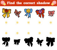 Find the correct shadow. Vector cartoon set of bows. Find the correct shadow, education game for children. Vector cartoon set of bows Royalty Free Stock Photo