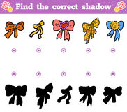 Find the correct shadow. Vector cartoon set of bows. Find the correct shadow, education game for children. Vector cartoon set of bows Stock Images