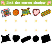 Find the correct shadow. Vector cartoon set of pillows. Find the correct shadow, education game for children. Vector cartoon set of pillows Stock Photo