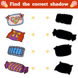 Find the correct shadow. Vector cartoon set of pillows. Find the correct shadow, education game for children. Vector cartoon set of pillows Stock Photos