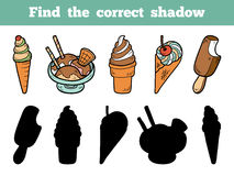 Find the correct shadow. Vector color ice-cream Royalty Free Stock Image