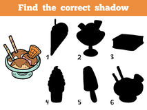 Find the correct shadow. Vector color ice-cream Royalty Free Stock Images