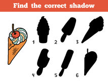 Find the correct shadow. Vector color ice-cream Royalty Free Stock Photo