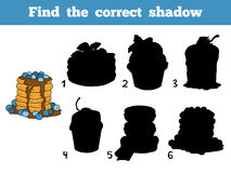 Find the correct shadow. Vector color pancakes with blueberry Stock Image
