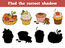 Find the correct shadow. Vector color set with cakes and pastrie Stock Image