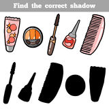 Find the correct shadow. Vector color set of cosmetic objects. Find the correct shadow, education game for children. Vector color set of cosmetic objects Royalty Free Stock Images