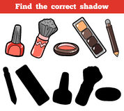Find the correct shadow. Vector color set of cosmetic objects. Find the correct shadow, education game for children. Vector color set of cosmetic objects Stock Photo