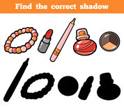 Find the correct shadow. Vector color set of cosmetic objects. Find the correct shadow, education game for children. Vector color set of cosmetic objects Stock Photography