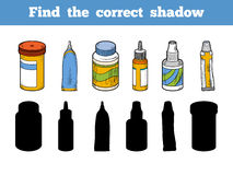 Find the correct shadow. Vector color set of medical items Royalty Free Stock Photography