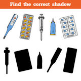 Find the correct shadow. Vector color set of medical items Stock Images