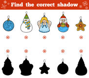 Find the correct shadow. Vector set of Christmas tree toys. Find the correct shadow, education game for children. Vector set of Christmas tree toys Stock Images