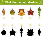 Find the correct shadow. Vector set of Christmas tree toys. Find the correct shadow, education game for children. Vector set of Christmas tree toys Royalty Free Stock Photo