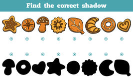Find the correct shadow, vector set of cookies Stock Image