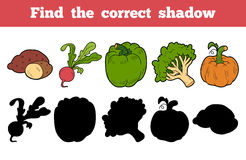 Find the correct shadow (vegetables). Find the correct shadow, education game for children (vegetables Royalty Free Stock Photo