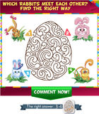 Find a correct way rabbit meet  each other. Visual Game for children. Which rabbit meet  each other? Find a correct way Stock Photos