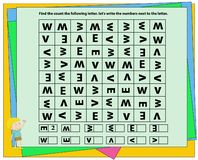 Find, count and write, worksheet visual perception, dyslexia, perception, visual,kindergarten symbol work.geometric shapes.Sudoku. For kids with colorful royalty free illustration