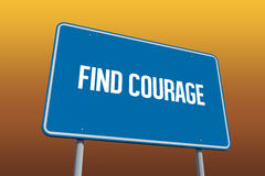 Find courage against orange sky. The word find courage and blue billboard against orange sky Stock Image