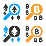 Find Cryptocurrency Vector Icon Set. Style is bicolor flat symbols Royalty Free Stock Photos