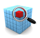 Find data. 3d illustration of cube structure and magnify glass, data search concept Royalty Free Stock Photography