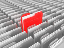 Find data. 3d illustration of many folders and one red, data searching concept Stock Photography