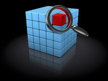 Find data. 3d illustration of data searching concept, over black background Royalty Free Stock Images