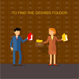 Find the desired folder. Flat-picture: a man in a suit holding a puck, and the woman is looking for a folder in an open cupboard Royalty Free Stock Photos