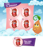 Find the difference hearts. Visual Game for children. Find the difference Stock Image