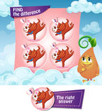 Find the difference hearts. Visual Game for children. Find the difference Stock Photo