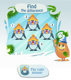 Find he difference penguin 3. Visual Game for children. Task: Find the difference penguin Stock Images