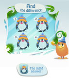 Find he difference penguin 4. Visual Game for children. Task: Find the difference penguin Stock Photography