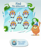 Find the difference penguin2. Visual Game for children. Task: Find the difference penguin Stock Images