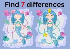 Find the difference the two illustration with sea mermaid. Children funny riddle entertainment. Sheet different toys construction equipment. Game tasks for vector illustration
