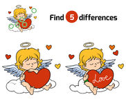 Find differences, Angel. Find differences, education game for children, Angel Stock Images