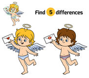 Find differences, Angel. Find differences, education game for children, Angel Royalty Free Stock Photos