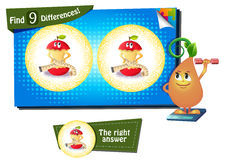 Find 9 differences Apple fitness Royalty Free Stock Photo