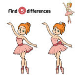 Find differences, Ballerina. Find differences, education game for children, Ballerina Stock Photo
