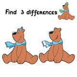 Find differences (bear). Game for children: Find 3 differences (bear Royalty Free Stock Images