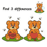 Find differences (bear). Game for children: Find 3 differences (bear and bee Stock Photography