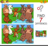 Find differences with bears animal characters. Cartoon Illustration of Finding Seven Differences Between Pictures Educational Activity Game for Kids with Bears Stock Images