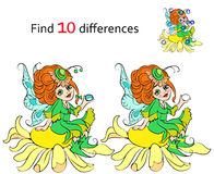 Find 10 differences Beautiful fairy. Vector and cartoon illustrations Royalty Free Stock Photo