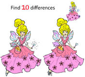 Find 10 differences Beautiful fairy. Vector and cartoon illustrations Stock Image
