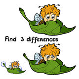Find 3 differences (bee). Game for children: Find 3 differences (bee Royalty Free Stock Image