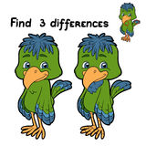 Find 3 differences (bird). Game for children: Find 3 differences (green bird Royalty Free Stock Image
