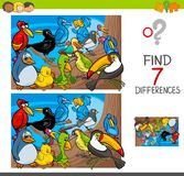 Find differences with birds animal characters. Cartoon Illustration of Finding Seven Differences Between Pictures Educational Activity Game for Kids with Birds Royalty Free Stock Images