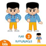 Find differences, Boy in the hoody. Find differences, education game for children, Boy in the hoody Stock Images