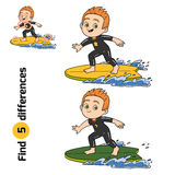 Find differences, a boy riding a surf Stock Photography
