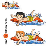 Find differences, a boy riding a surf Stock Photo