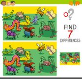 Find differences with bugs animal characters group. Cartoon Illustration of Finding Seven Differences Between Pictures Educational Activity Game for Kids with vector illustration
